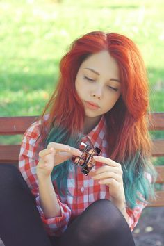 ginger hair dip dyed blue - google