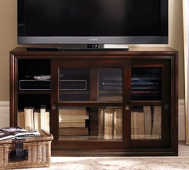 Winslow Small Media Stand With Glass Doors Espresso Stain Glass