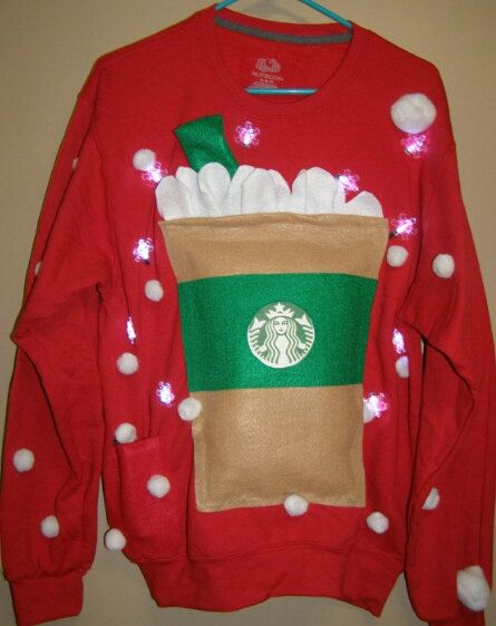 Ugly christmas sweater starbucks lights up sizes available small ugly christmas sweater starbucks lights up sizes by thecostumestop fandeluxe Image collections