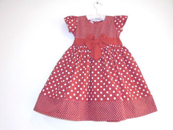 59428303a0 Vestido Poá Vermelho-TAMANHO 1 ANO no Elo7