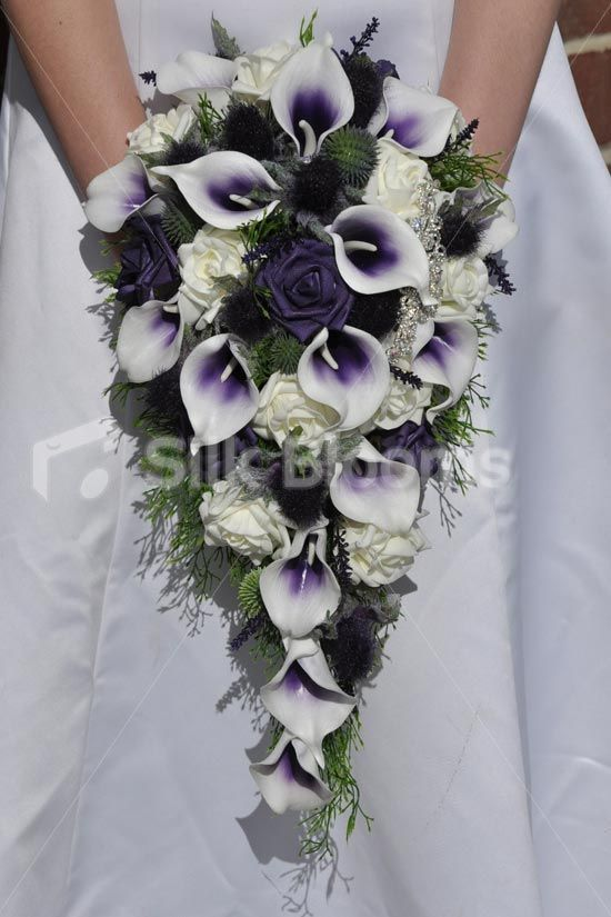 Elegant Rustic Purple Tipped Calla Lily Scottish Thistle W Brooch Cascade Bridal Wedding Bouquet Online From Silk Blooms At Just It Is An