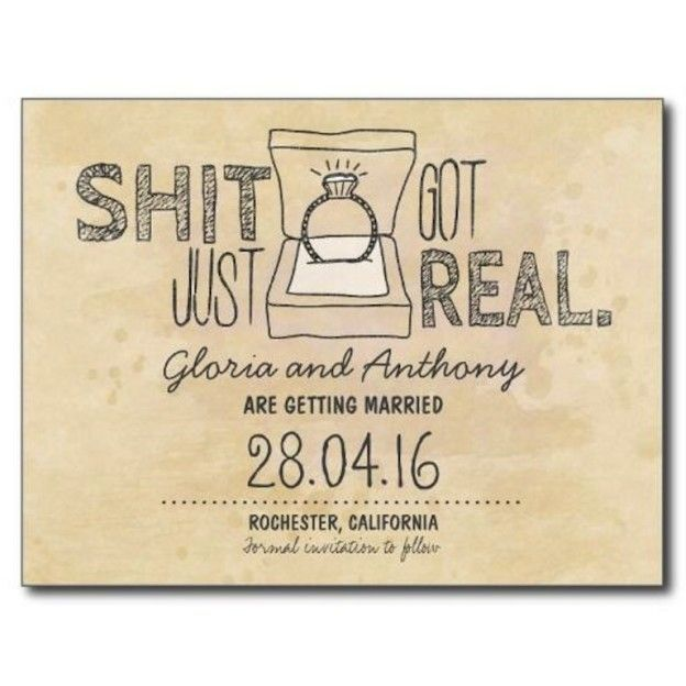save the date shit just got real Wedding Ideas – Humor Invitation Cards