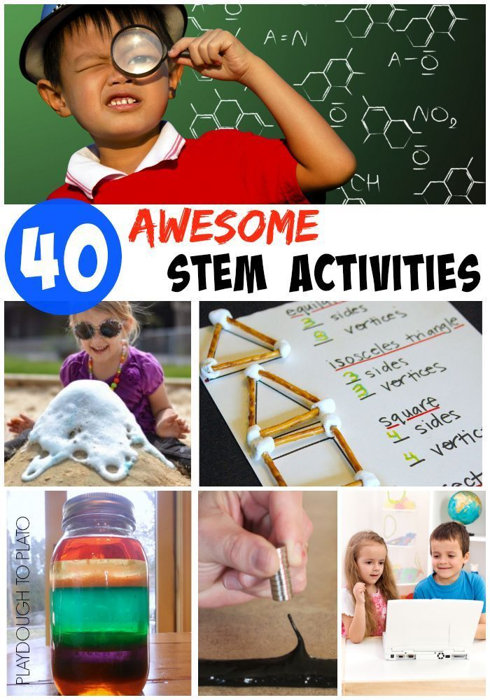 40 Awesome STEM Activities for Kids. Make a rainbow in a jar, whip up a sandbox volcano and more.