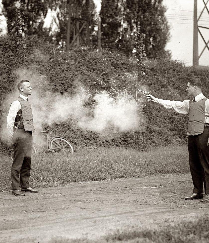 Testing a bulletproof vest, 1923 Bullet proof vest, Rare