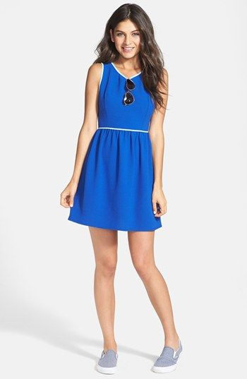 Soprano Piped Fit Flare Dress Juniors Available At Nordstrom
