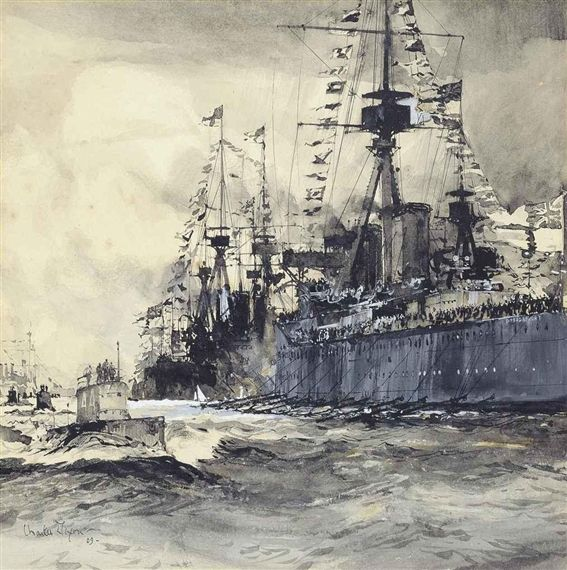 A fleet of submarines passing HMS Dreadnought by Charles Dixon.