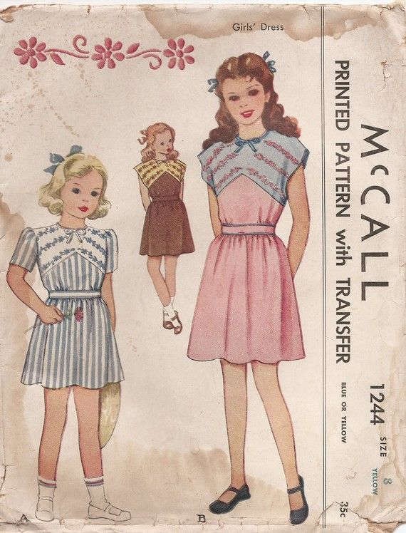 Vintage 1940s Girls Dress Sewing Pattern with Embroidery Transfer by ...