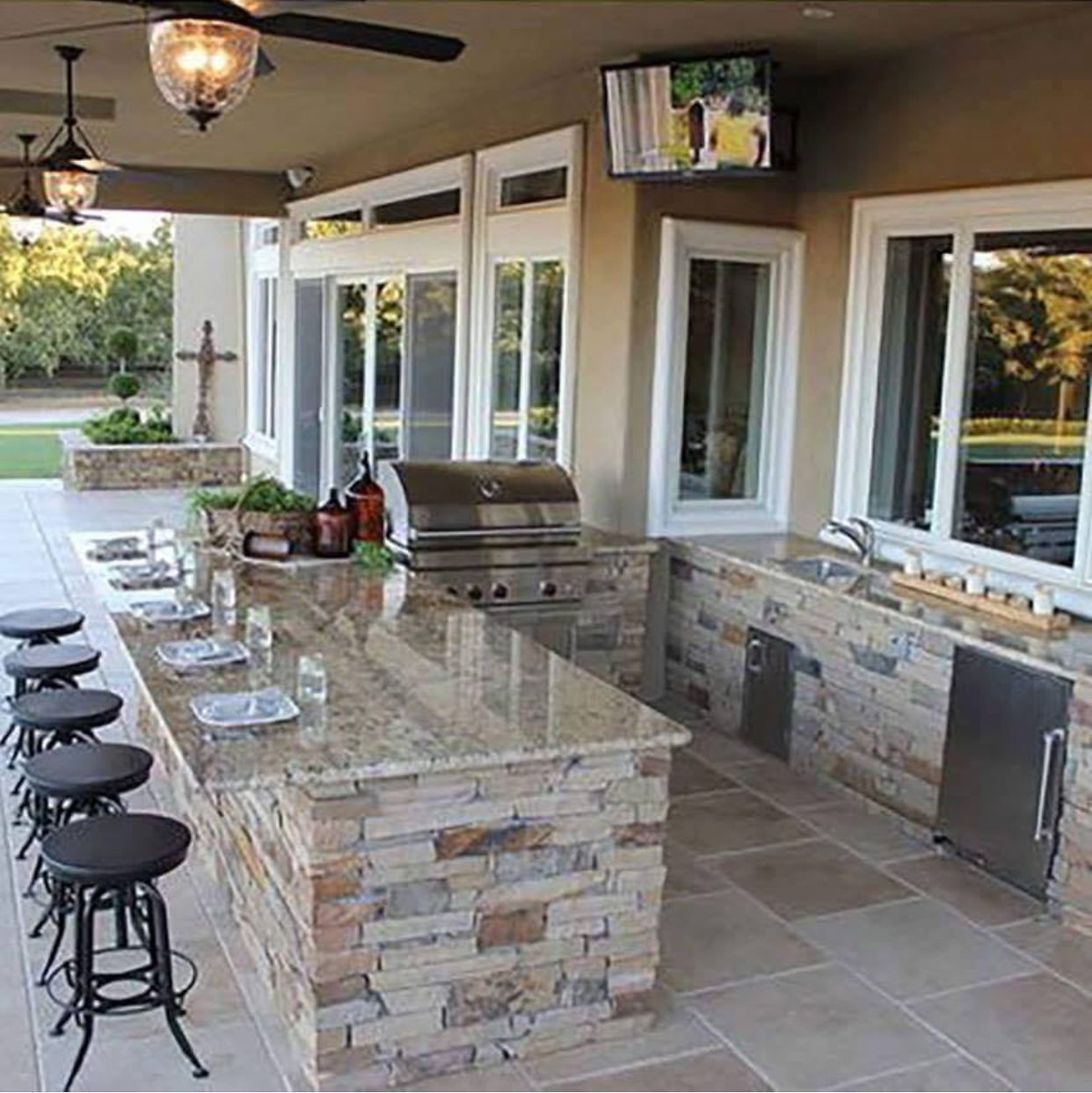I D Move The Tv Because Of Smoke From The Grill Install A Window That Could Open Where The Small Window Is In The Corner Outdoor Kitchen Design Backyard Patio