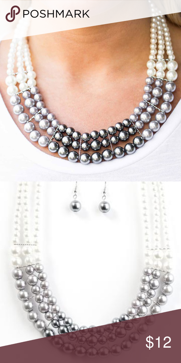Paparazzi strand white silver /& dark gray pearls Necklace w//earring