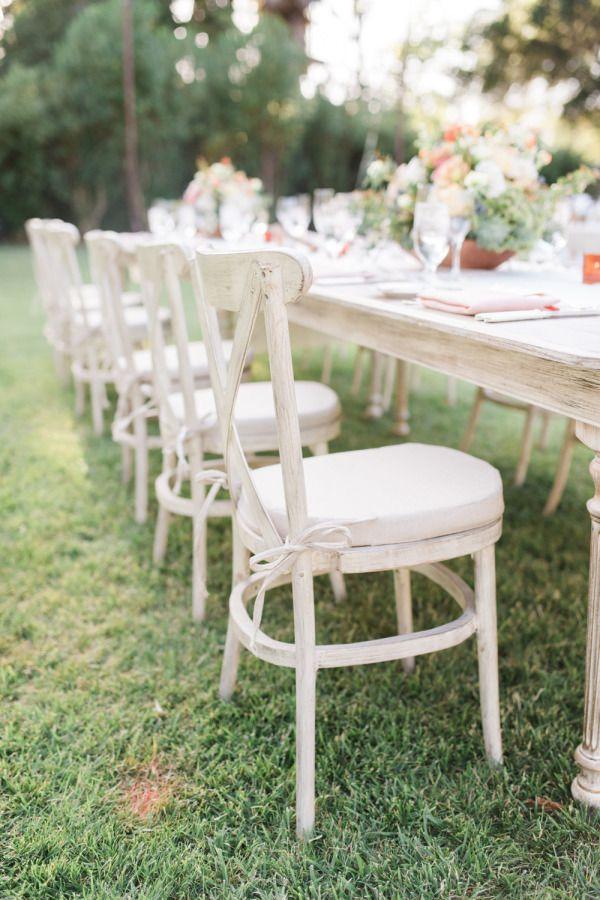 Rustic white chairs: http://www.stylemepretty.com/california-weddings/ojai/2015/08/10/romantic-ojai-valley-inn-wedding/ | Photography: Jillian Rose - http://www.jillianrosephotography.com/