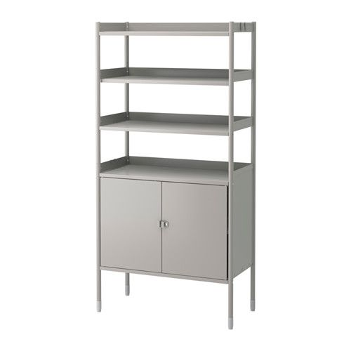 HINDÖ Shelf Unit W/cabinet, In/outdoor, Gray