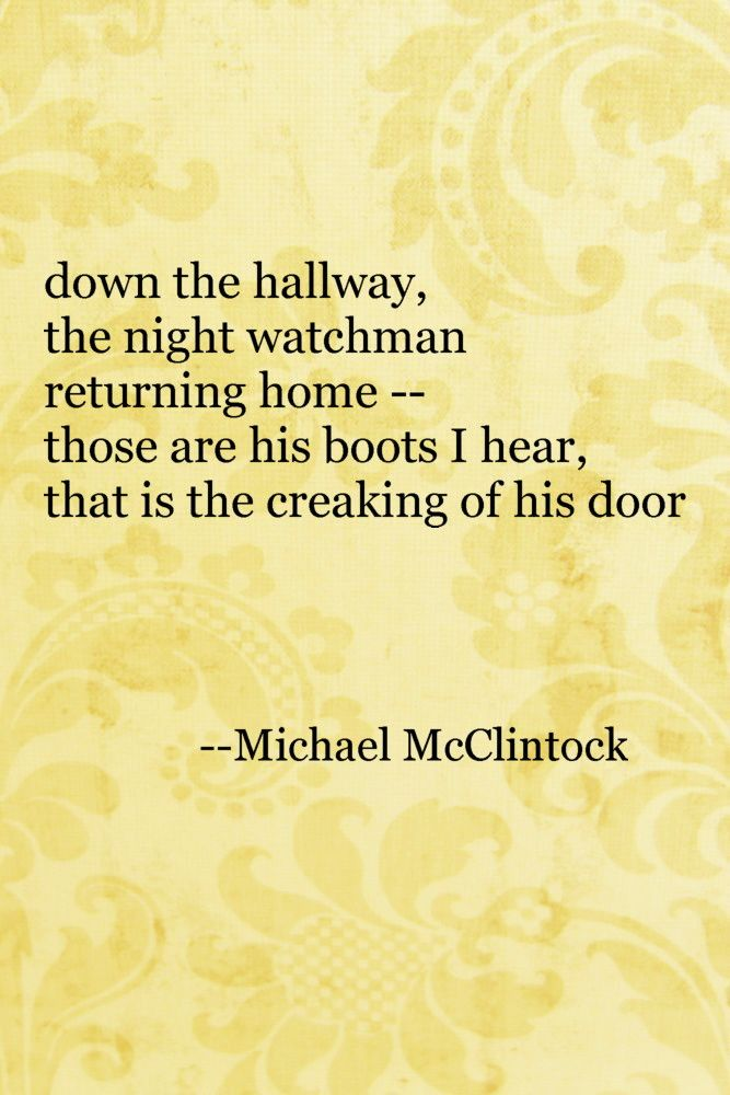 Tanka poem: down the hallway -- by Michael McClintock.