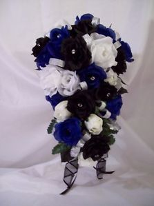 Black White Silver Royal Blue Wedding New Wedding Bouquets 24 Pc