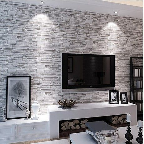 Stone brick wall paper living room walls wallpaper rolls for Living room paper ideas