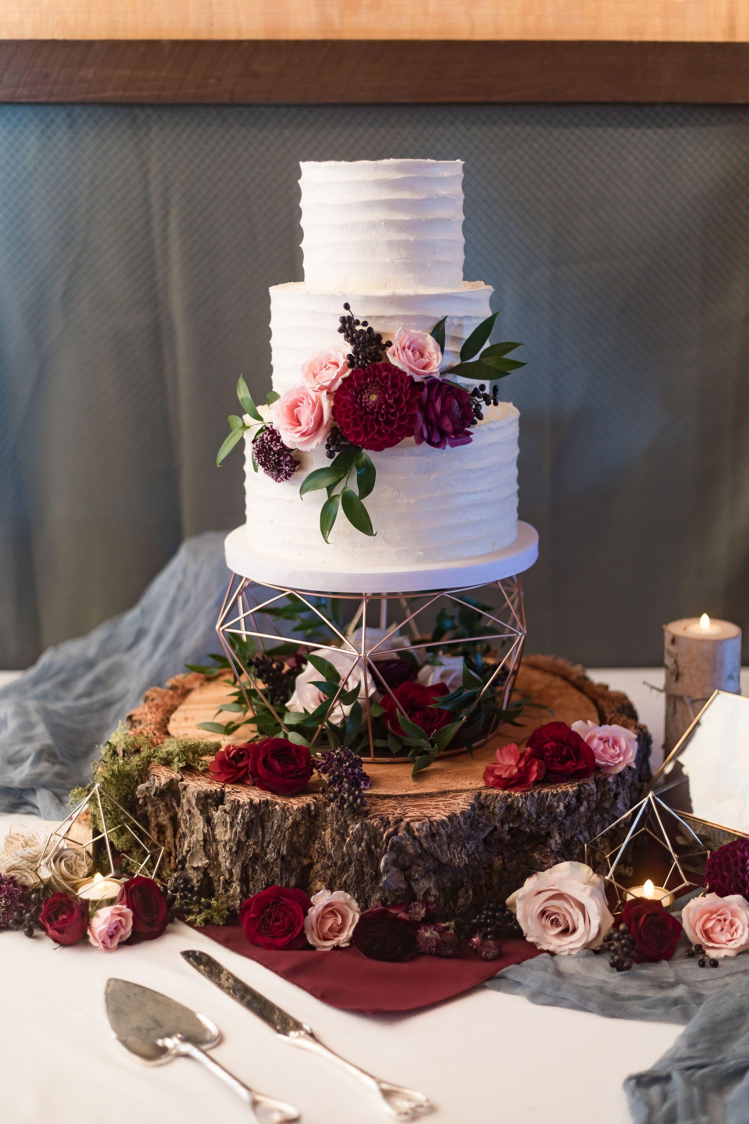 Geometric Cake Stand Simple Wedding Cake Burgundy And Dusty Blue