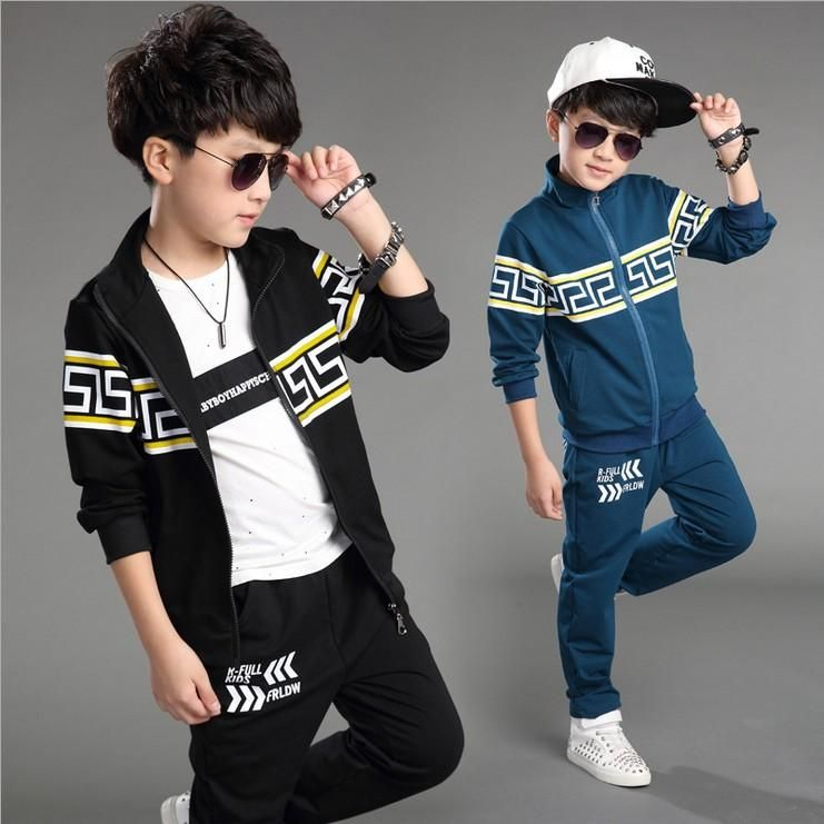 4a7292fef8a3 New Fashion Big Boys Cotton Outfits Children Korean Tracksuits Kids Boys  Jacket And Pants Suits Boys Cool Sets From Elandfashion