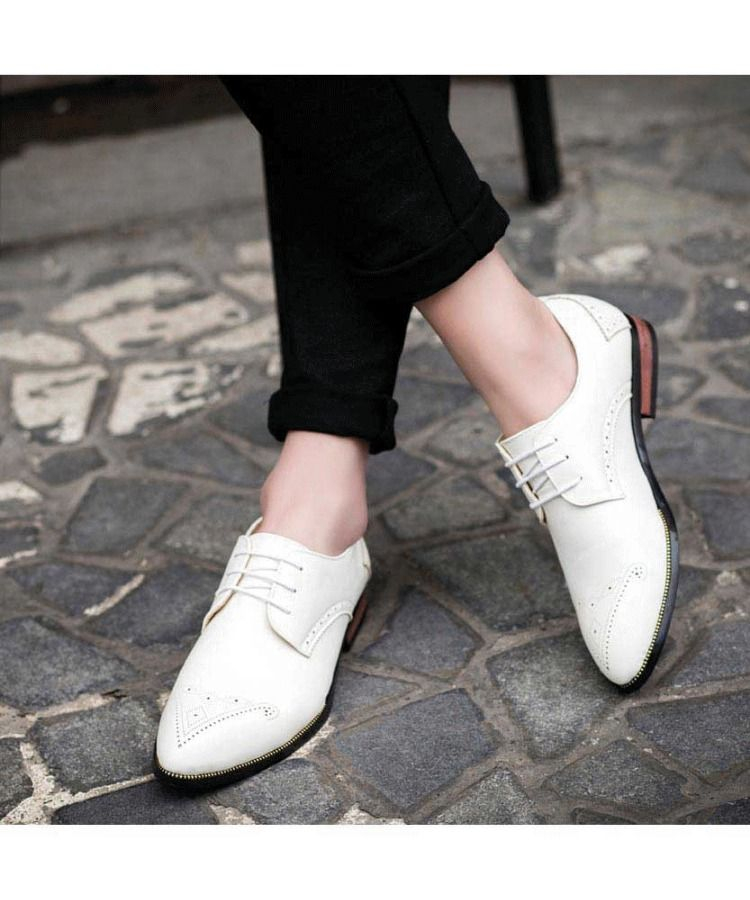 White leather derby brogue dress shoe