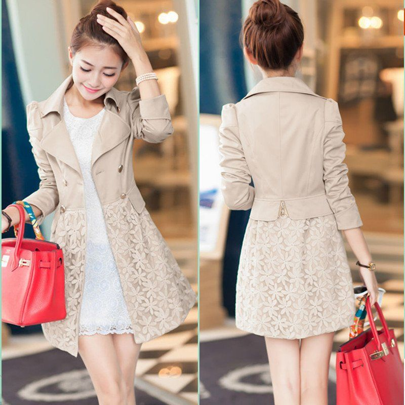 Double Breasted Lapel Lace Print Long Coat