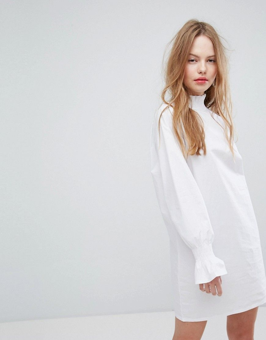 691a084c754c Plain Studios Shift Dress With Shirred Collar And Cuffs - White ...