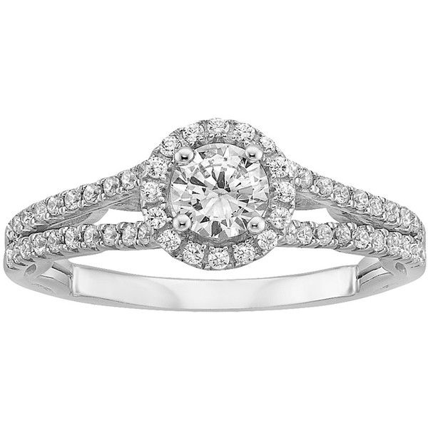 enchanted disney diamond engagement ring in 14k white gold 2524 liked on polyvore - Disney Engagement Rings And Wedding Bands