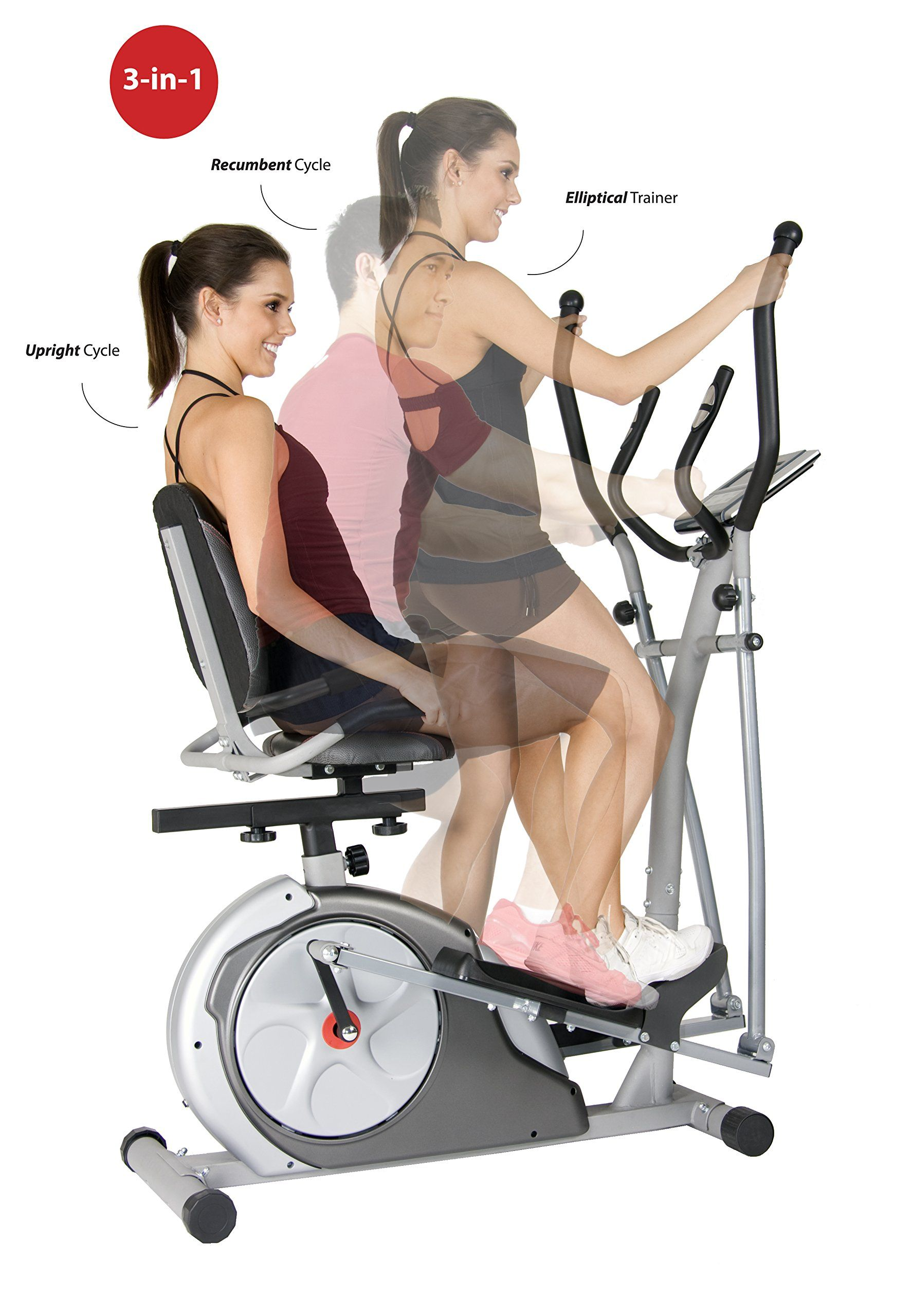 Amazon Com Body Rider 3 In 1 Trio Trainer Silver Red Exercise Bikes Sports Outdoors Workout Machines Biking Workout Workout