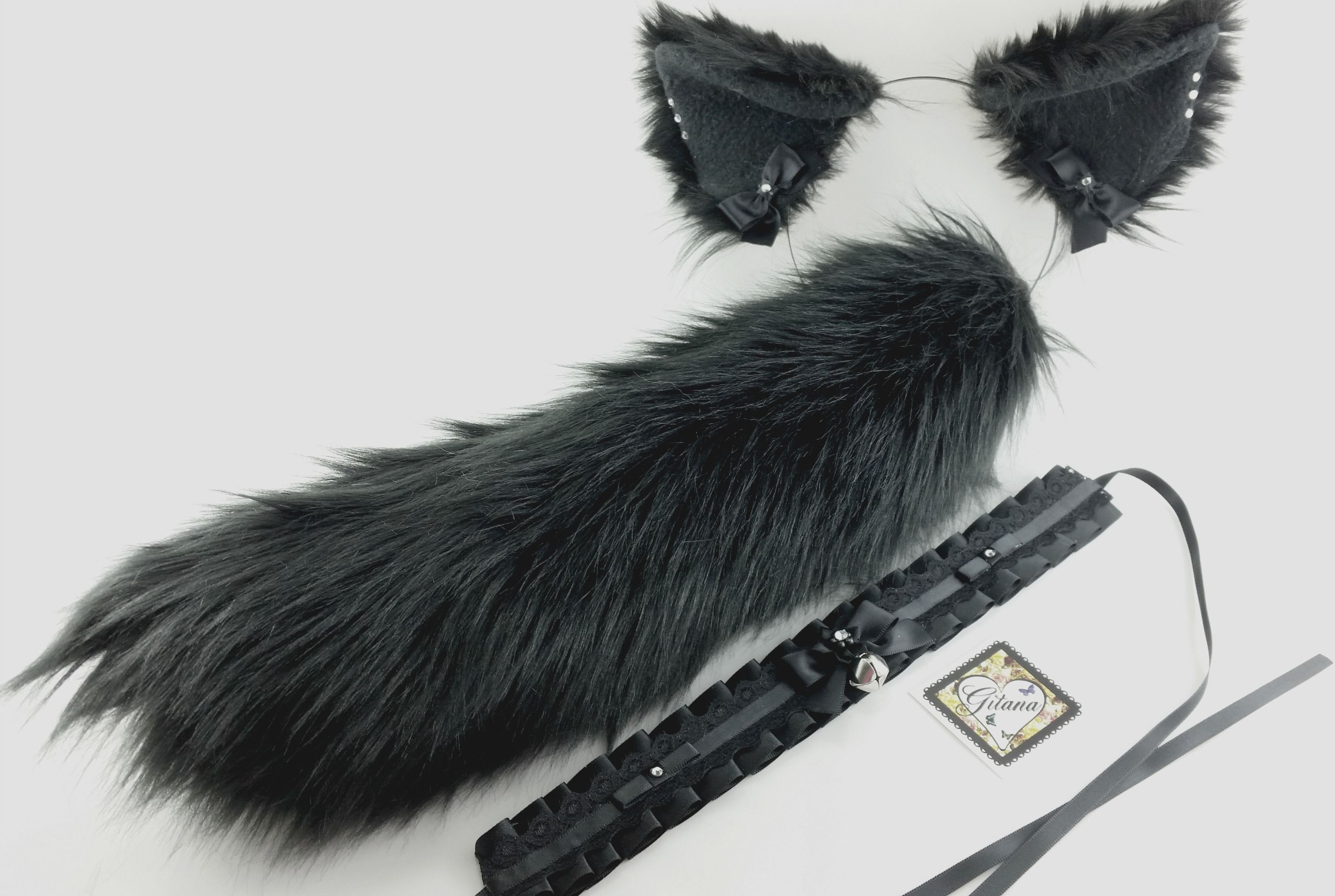 new! realistic faux fur black cat ears, tail and choker set