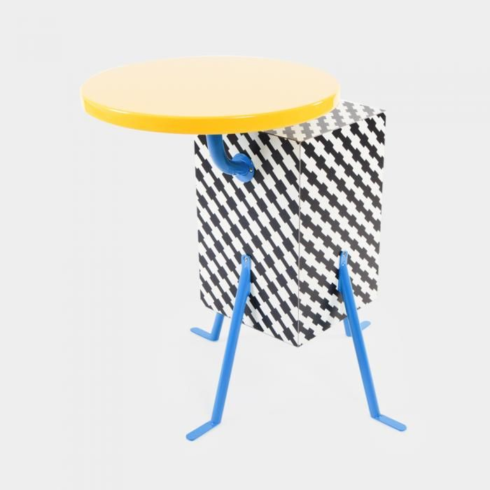 KRISTALL  design by Michele De Lucchi  Kristall End Table designed in 1981 for Memphis, in plastic laminate, lacquered wood and metal - Memphis Design Store