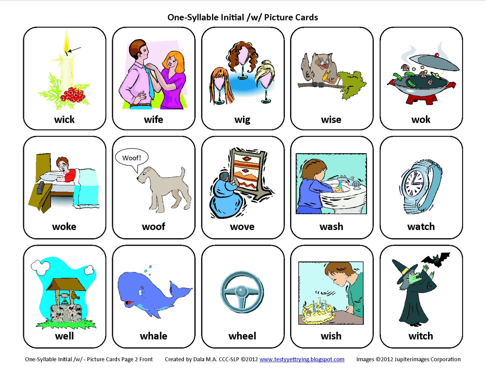 Testy Yet Trying Initial W Free Speech Therapy Articulation Picture Cards