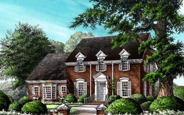 Traditional Style House Plan 86254 With 4 Bed 4 Bath 2 Car Garage Colonial House Plans Colonial House Colonial Style Homes