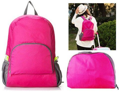 Multifunctional Foldable Travel Outdoor Backpack Shoulder Bag (Rose Red)$19.99