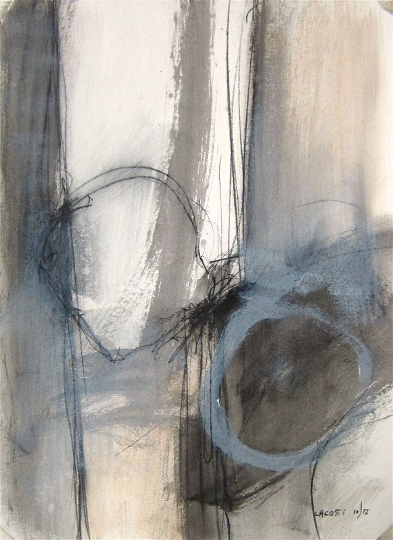 Black and White / Original Abstract Painting / Watercolor 003 / By Edmond Lacoste
