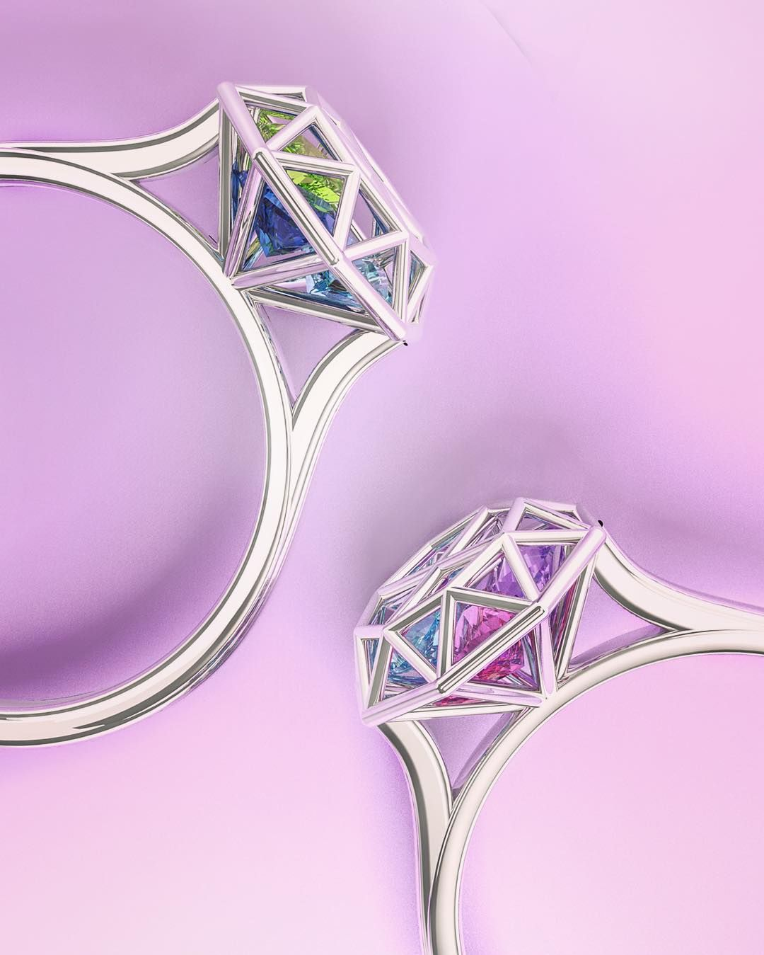 Diamond Cage Ring with Encased Heart Stones | Diamond, Purple and Ring