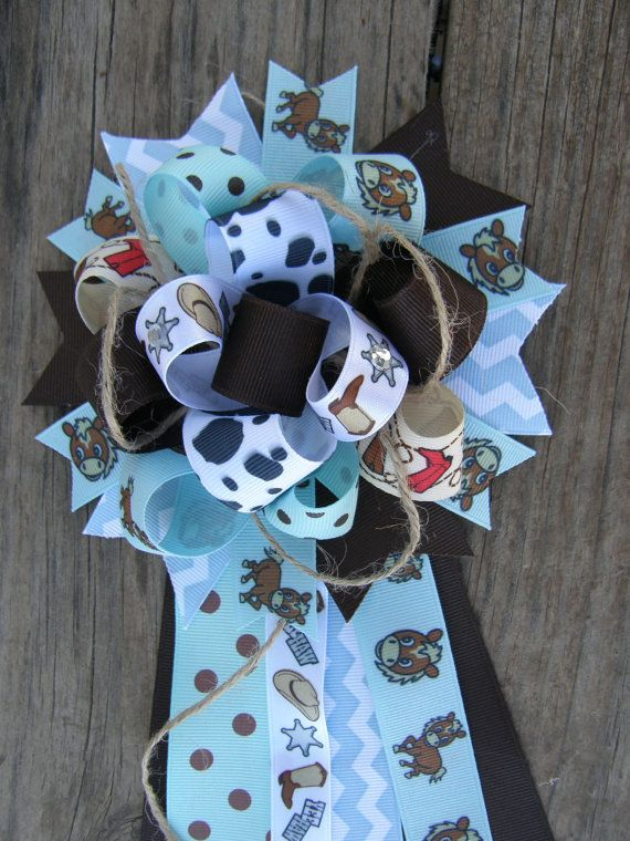 Blue Cowboy Corsagebaby Shower Corsage By Bonbow On Etsy 14 99