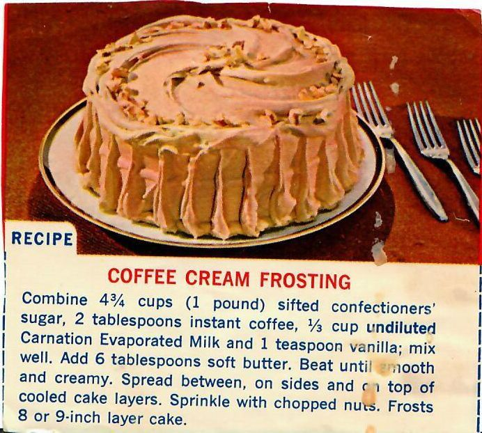 Coffee Cream Frosting - a vintage clipped recipe from ...
