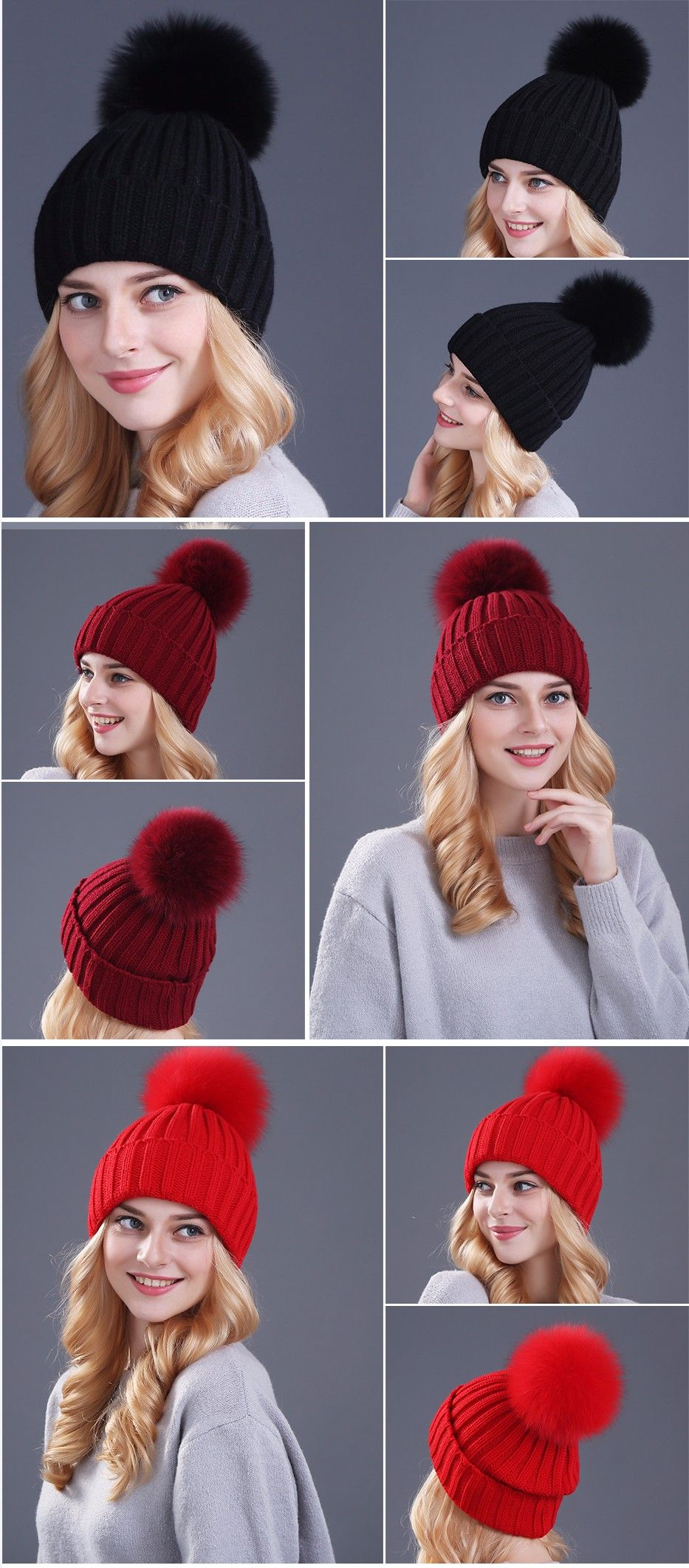 b5a543b2 Xthree mink and fox fur ball cap pom poms winter hat for women girl 's hat  knitted beanies cap brand new thick female cap