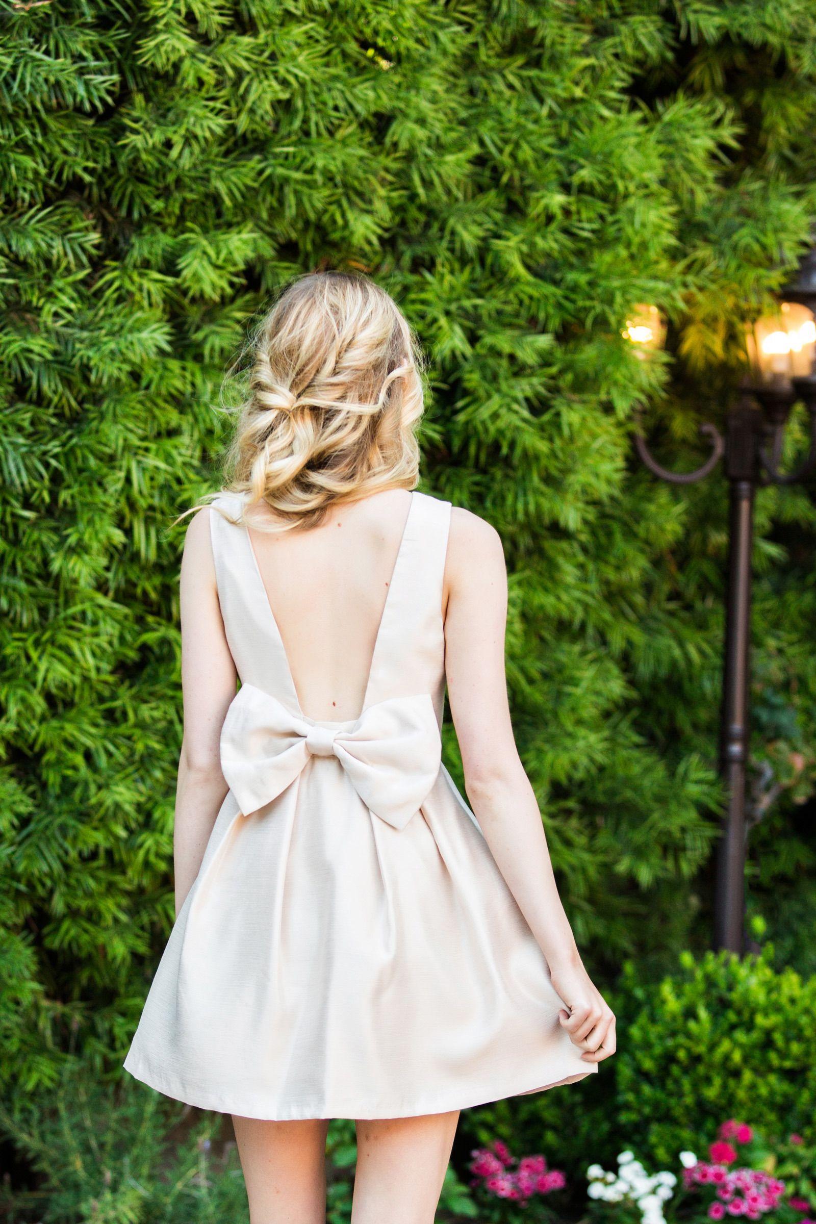 Romantic Garden Bridal Shower Inspiration Bow Back Dresses Casual Dresses Short Wedding Dress [ 2400 x 1600 Pixel ]