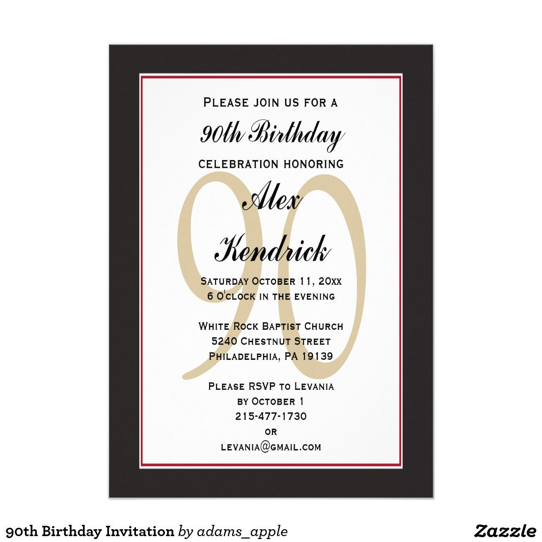 90th Birthday Invitation 90th Birthday Invitations 90 Birthday