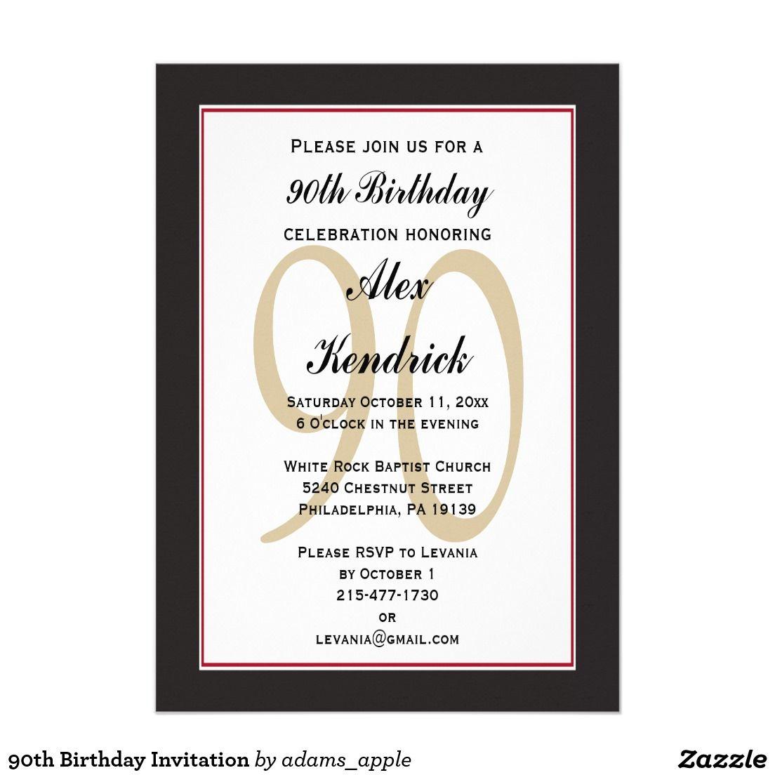 90th Birthday Invitation | BIRTHDAY PARTY INVITATIONS FOR MEN ...