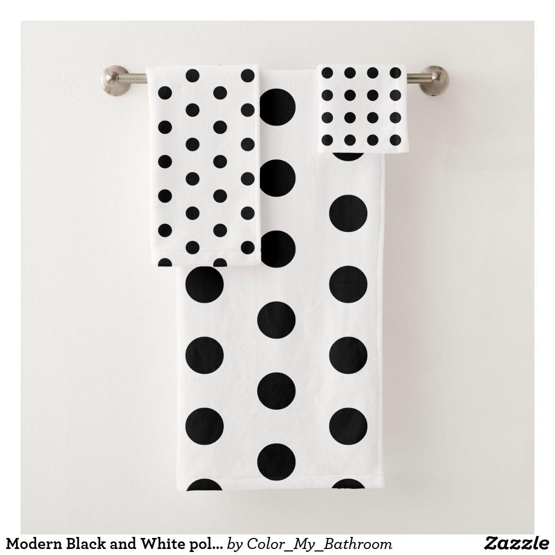 Modern Black And White Polka Dots Bath Towel Set Zazzle Com In