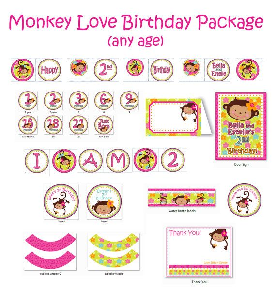 monkey love printouts birthday 1 year old 2 years old girl 1st birthday party or 2nd birthday. Black Bedroom Furniture Sets. Home Design Ideas