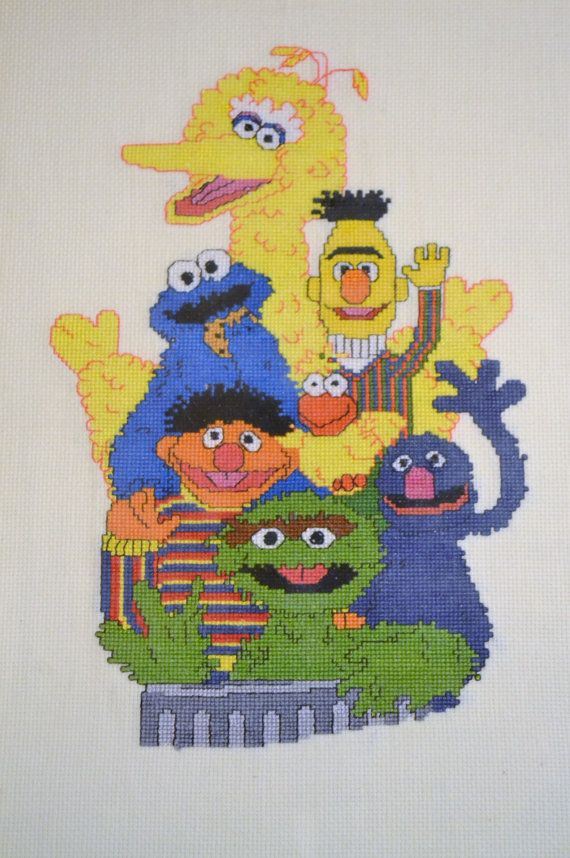 Vintage Sesame Street Cross Stitch Completed and by PanchosPorch, $19.75