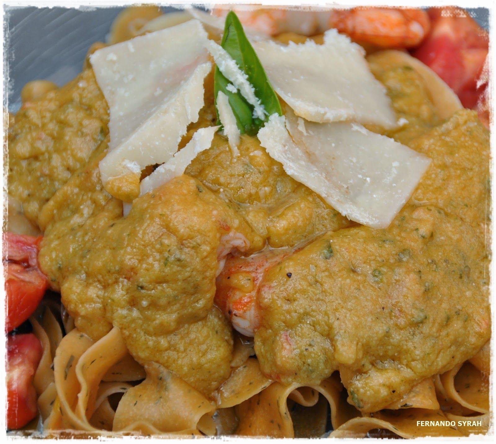 VINO, GASTRONOMIA Y VIAJES (Entre Fogones y Gin Tonics): Pappardelle de tomate con gambones y pesto de toma...