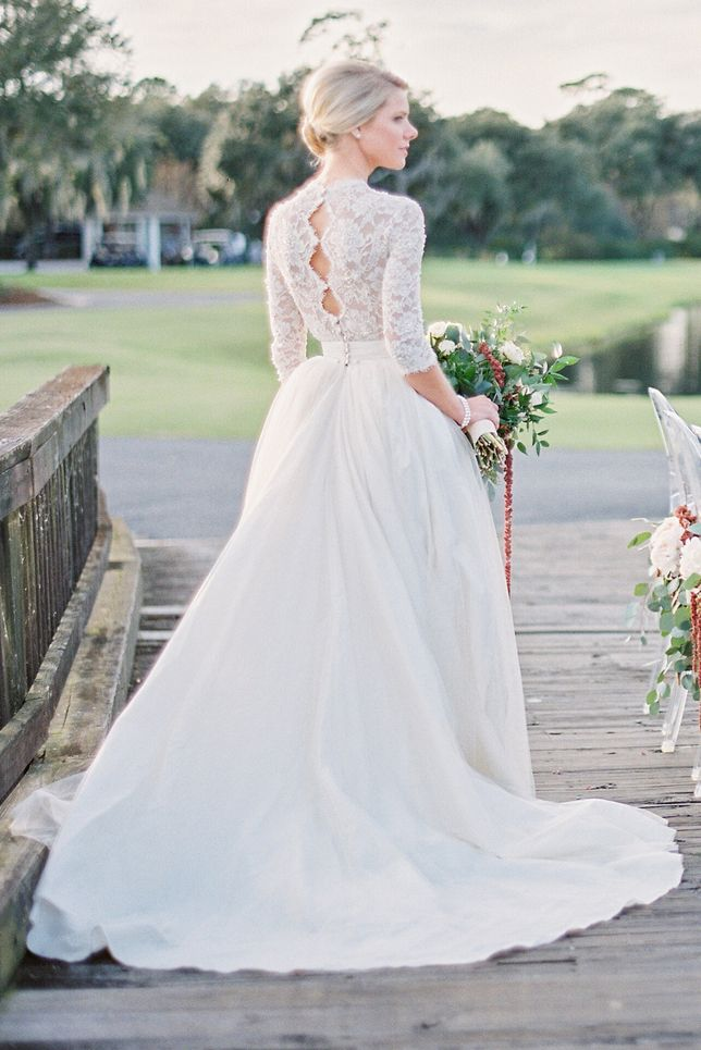393af03a3bc Lace Long Sleeve Scalloped Ball Gown Tulle overlay Satin Wedding Dress