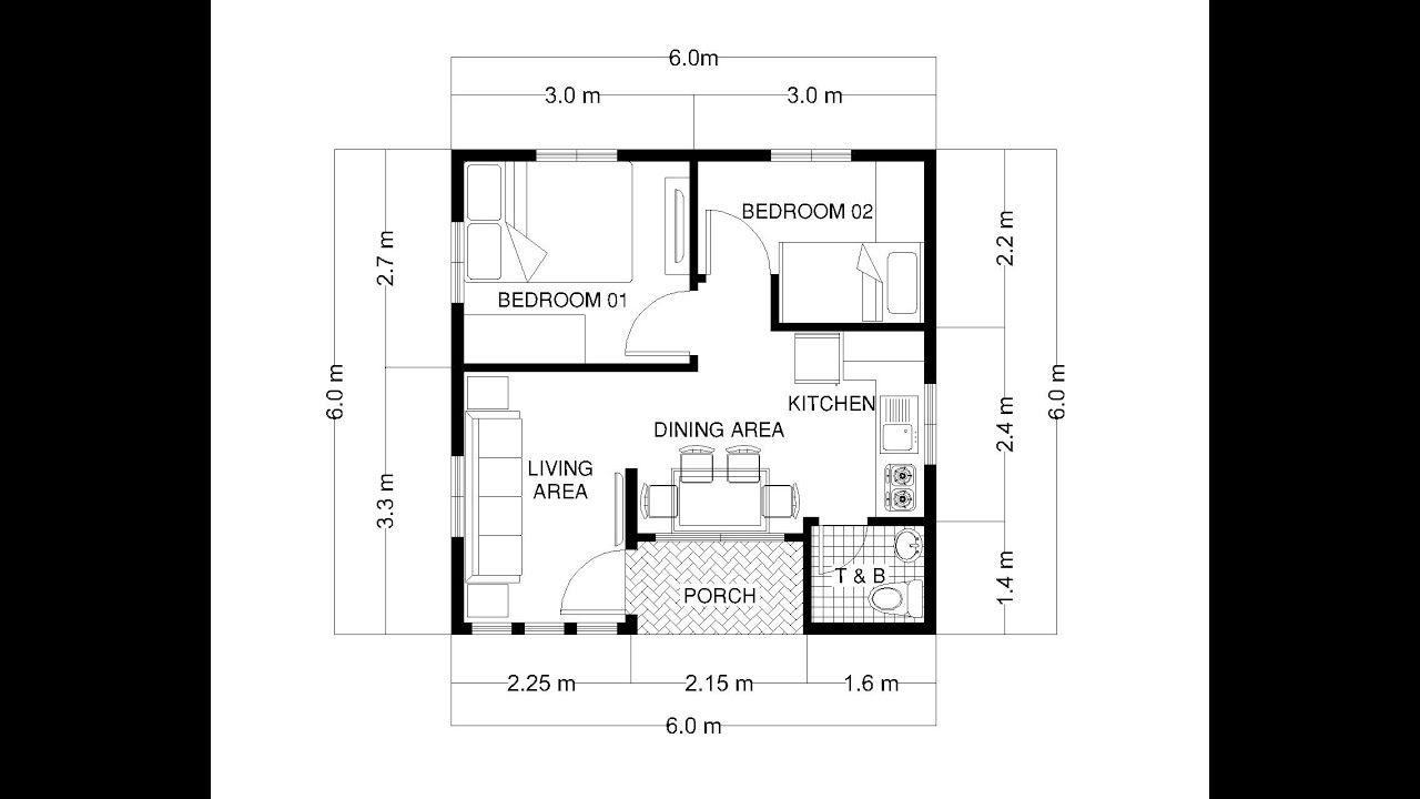 Small House Design 6x6 Meters 36 Sqm 20x20 Feet 400 Sqft One Floor House Plans Small House Design Plans My House Plans