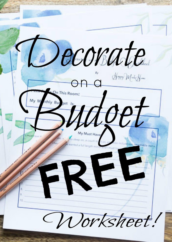 Decorating On A Budget Worksheet