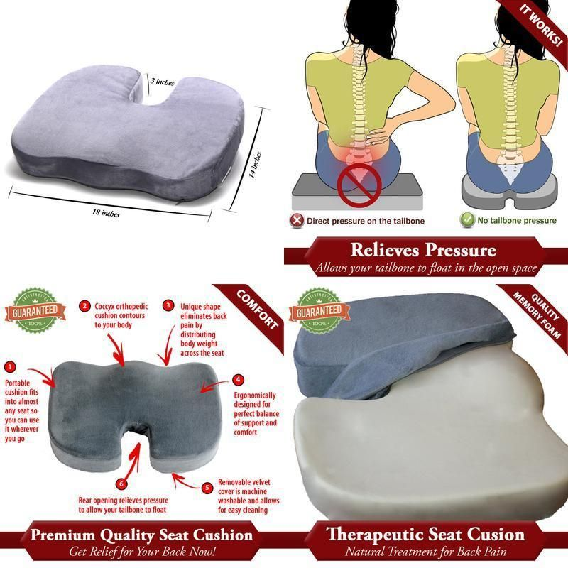 FIRM Seat Cushion For Coccyx Tailbone And Back Pain Memory Foam High  Density FIR