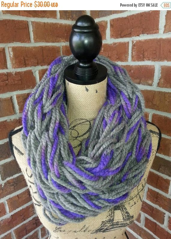 Sale Arm Knitted Infinity Scarf Gray And Purple Scarf Knit Scarf