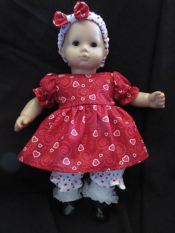 "Bitty Baby Doll Clothes Handmade For 15/"" Dolls Valentine Heart Hello Kitty Dress"