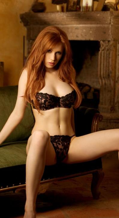 Hot redhead panties rub