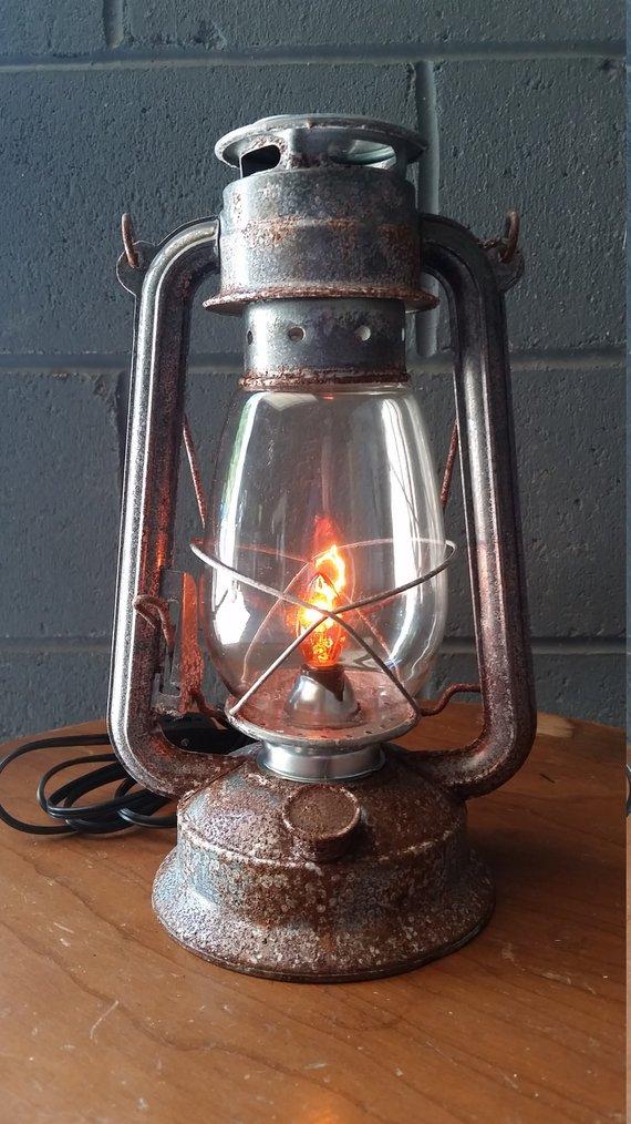 Electric Lantern Table Lamp Silver Rustic Rusty 12 Etsy Lantern Table Lamp Electric Lanterns Lamp